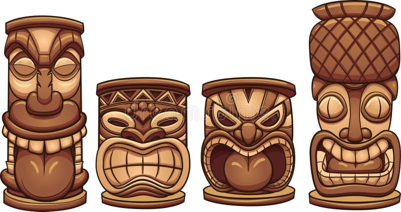 Totens de Tiki dos desenhos animados de tamanhos diferentes ilustração royalty free