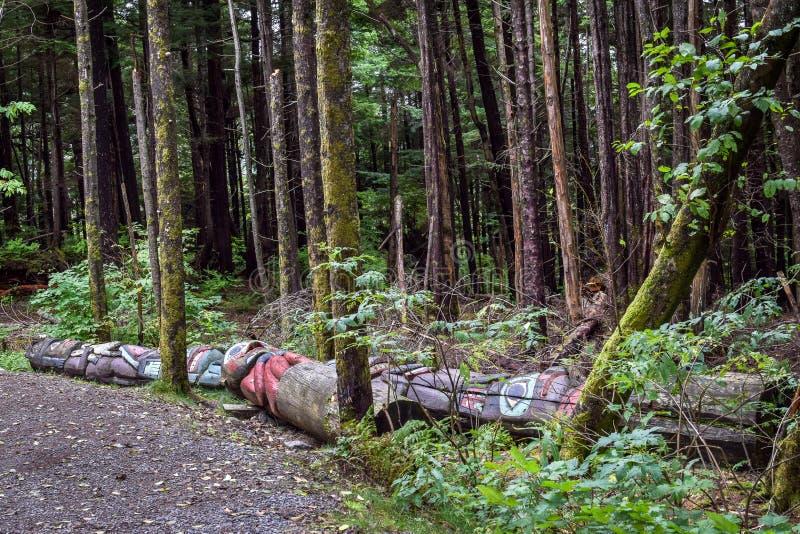 Totens na terra no parque hist?rico do estado da reentr?ncia do totem em Ketchikan, Alaska fotografia de stock