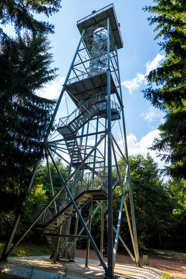 Totenstein view tower in the Rabenstein forest stock images