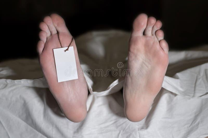 Toter Mann, der auf dem Boden unter weißem Stoff mit leerem Tag auf Füßen - Retrostil liegt lizenzfreie stockfotos