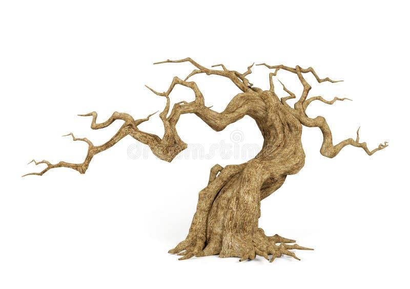 Toter verwelkter Baum lokalisiert auf weißem Hintergrund, dekorativer Gegenstand für Halloween-Szene, Wiedergabe 3D lizenzfreie abbildung