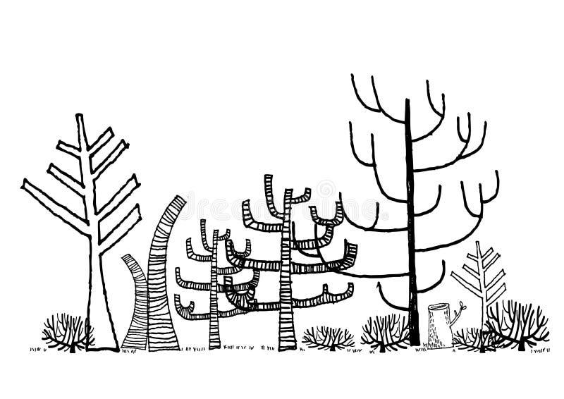 Toter Waldzeichnung Vektor lizenzfreie stockfotos