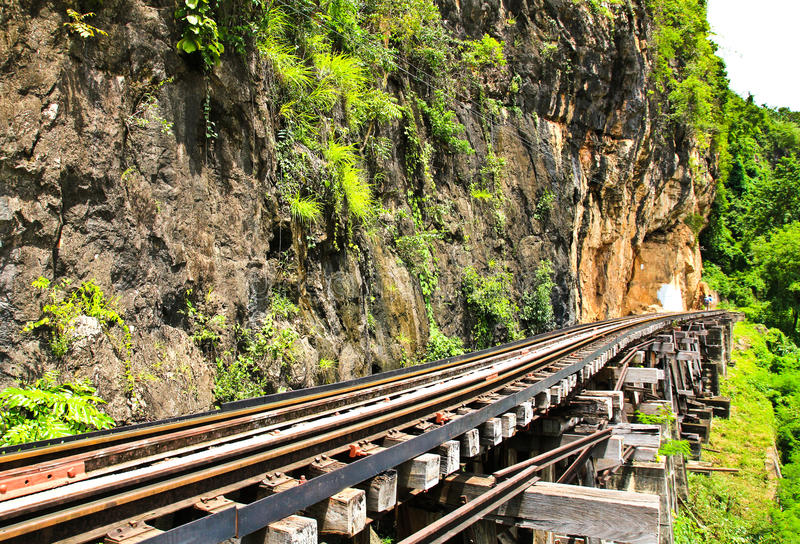 Totes Gleis neben Klippe, entlang Kwai Fluss lizenzfreie stockbilder