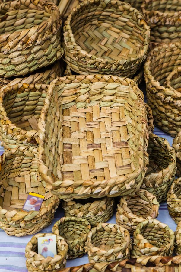 Totora crafts royalty free stock photo