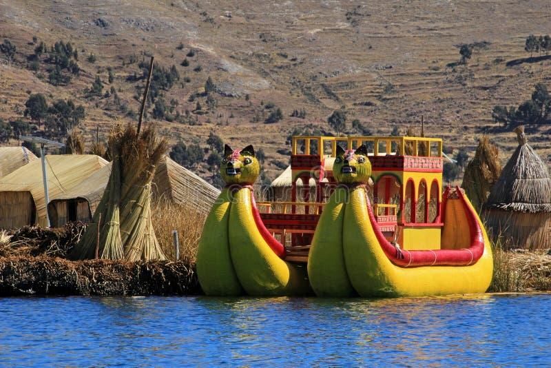 Totora reed floating islands Uros, lake Titicaca, Peru royalty free stock photo