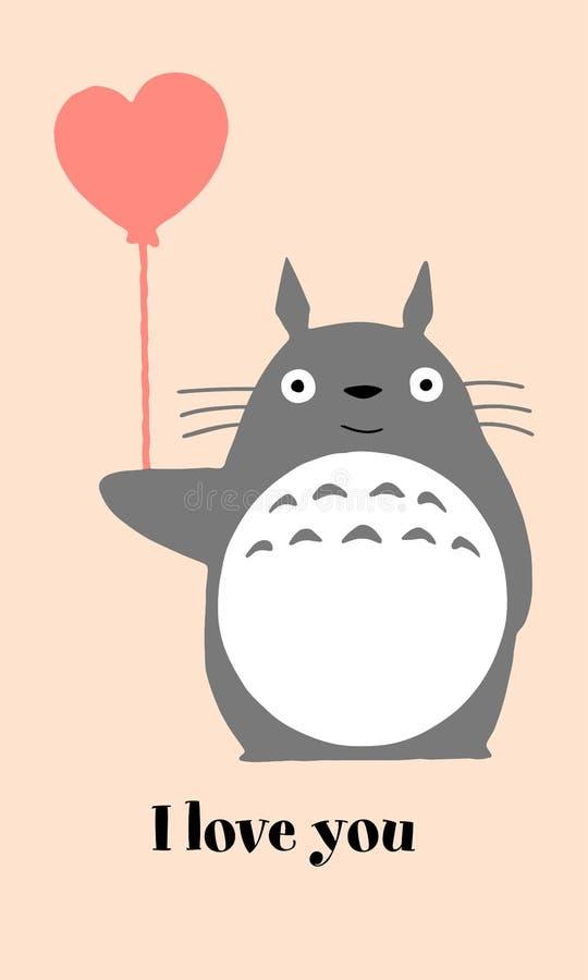 Totoro met baloon i liefde u stock afbeelding