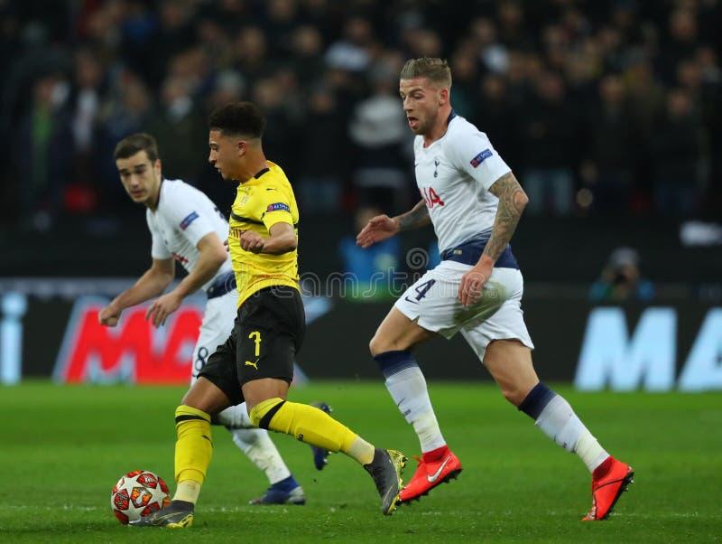Tottenham Hotspur v Borussia Dortmund - UEFA Champions League Round of 16: First Leg. LONDON, ENGLAND - FEBRUARY 13 2019: Jadon Sancho of Dortmund during the stock image
