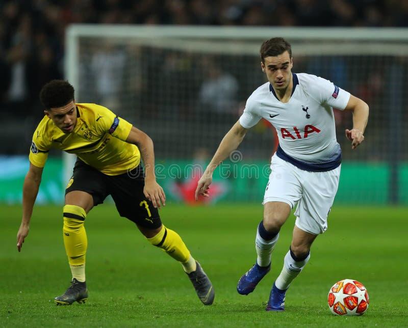 Tottenham Hotspur v Borussia Dortmund - UEFA Champions League Round of 16: First Leg. LONDON, ENGLAND - FEBRUARY 13 2019: Jadon Sancho of Dortmund and Harry stock photos