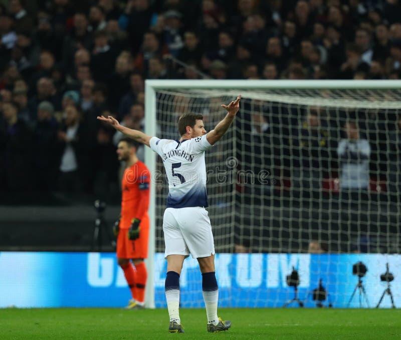 Tottenham Hotspur v Borussia Dortmund - UEFA Champions League Round of 16: First Leg. LONDON, ENGLAND - FEBRUARY 13 2019: Jan Vertonghen of Tottenham during the stock images