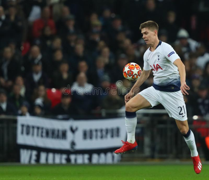 Tottenham Hotspur v Borussia Dortmund - UEFA Champions League Round of 16: First Leg. LONDON, ENGLAND - FEBRUARY 13 2019: Juan Foyth of Tottenham during the stock photos