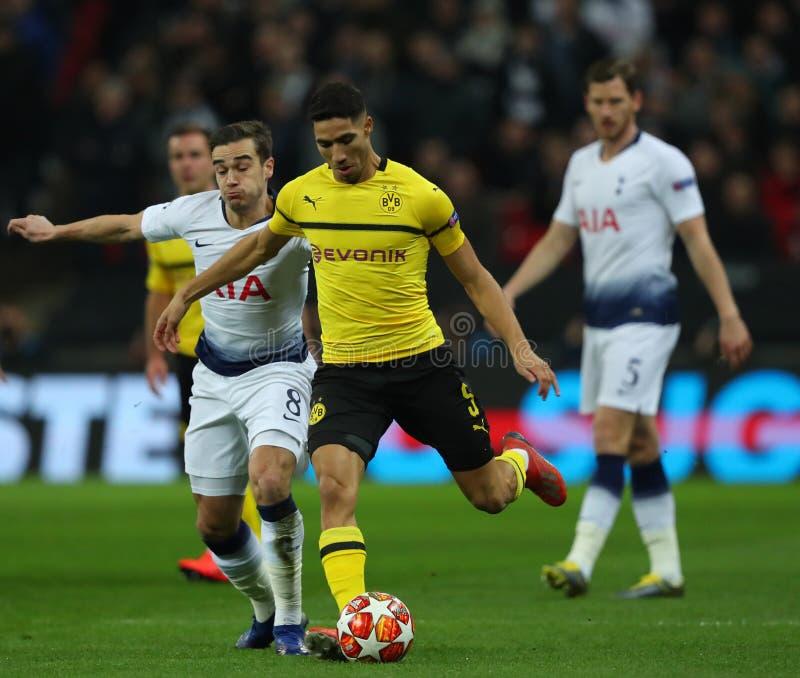 Tottenham Hotspur v Borussia Dortmund - UEFA Champions League Round of 16: First Leg. LONDON, ENGLAND - FEBRUARY 13 2019: Paco Alcacer of Dortmund during the royalty free stock image