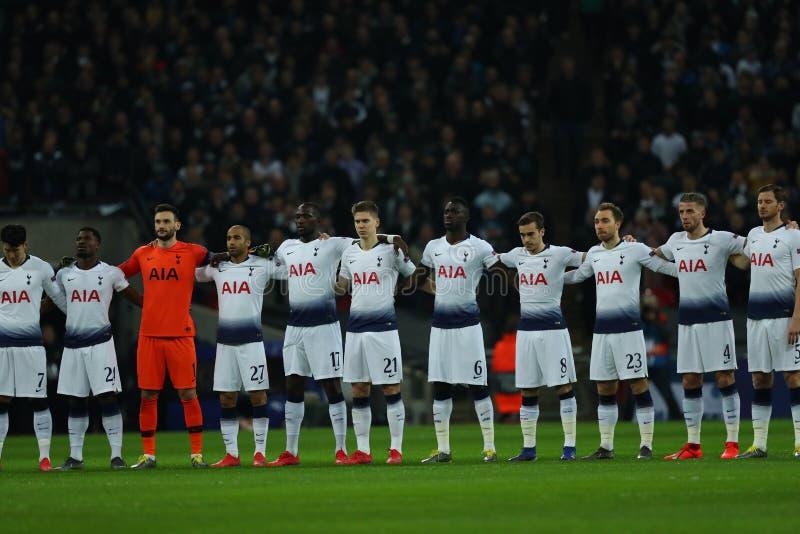 Tottenham Hotspur v Borussia Dortmund - UEFA Champions League Round of 16: First Leg. LONDON, ENGLAND - FEBRUARY 13 2019: Tottenham players during minute royalty free stock photos
