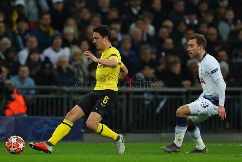 Tottenham Hotspur v Borussia Dortmund - UEFA Champions League Round of 16: First Leg. LONDON, ENGLAND - FEBRUARY 13 2019: Thomas Delaney of Dortmund and royalty free stock photography