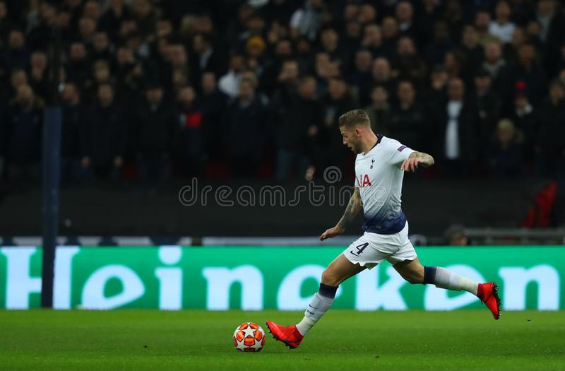 Tottenham Hotspur v Borussia Dortmund - UEFA Champions League Round of 16: First Leg. LONDON, ENGLAND - FEBRUARY 13 2019: Toby Alderweireld of Tottenham during stock photography