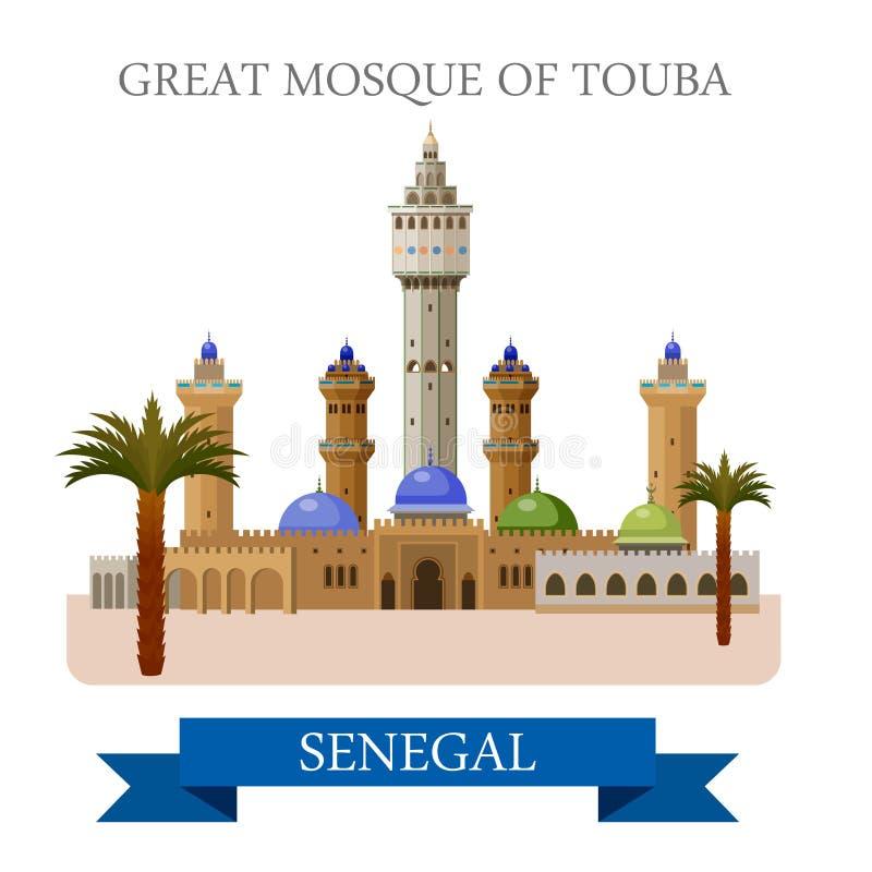 Touba清真大寺在塞内加尔 平的传染媒介illu 皇族释放例证