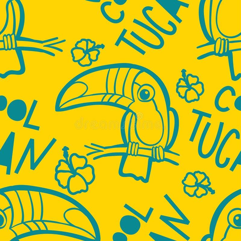 Toucan和木槿 热带绿色无缝的样式 向量例证