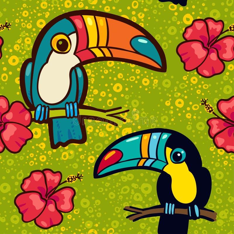 Toucan和木槿 热带绿色无缝的样式 皇族释放例证
