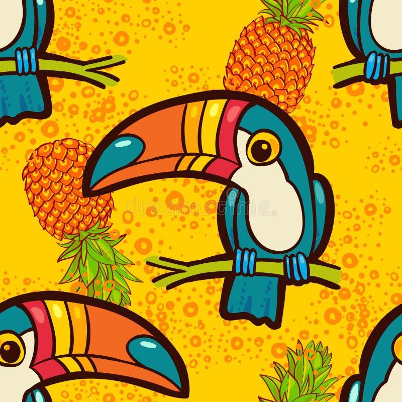 Toucan和菠萝 热带绿色无缝的样式 向量例证