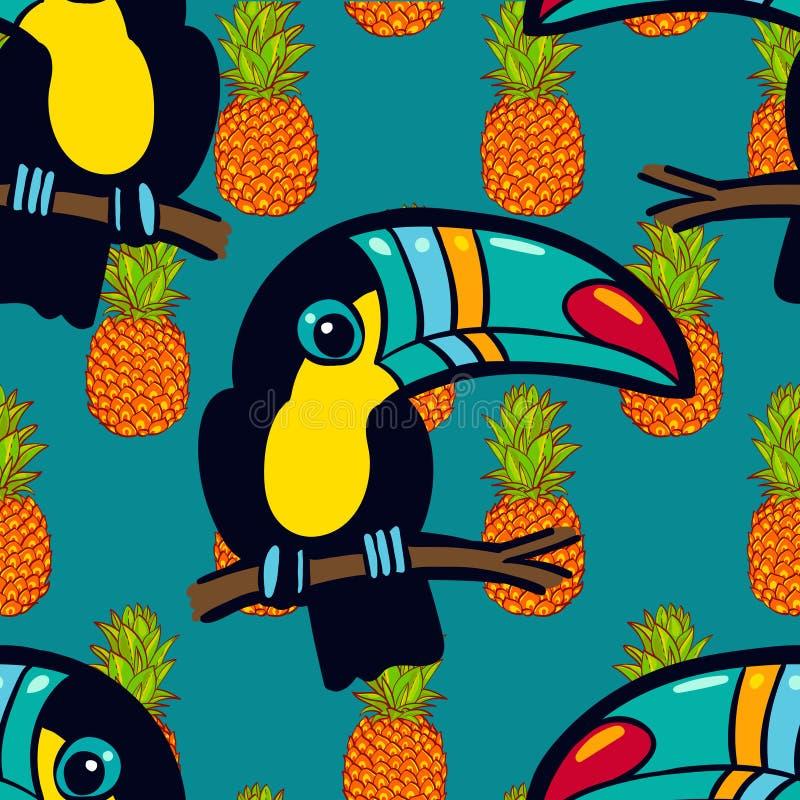 Toucan和菠萝 热带绿色无缝的样式 库存例证