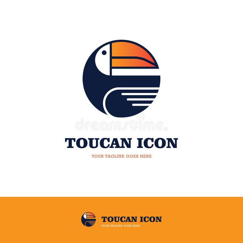 Toucan圆的商标 库存例证
