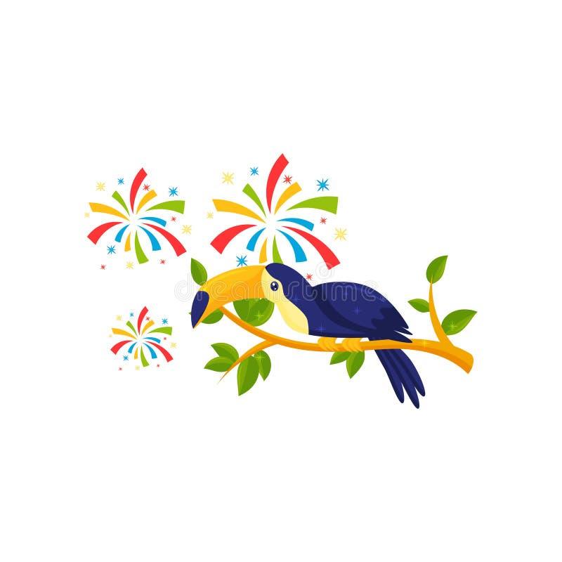 toucan开会平的传染媒介象在树枝和欢乐致敬的 热带鸟 巴西狂欢节题材 皇族释放例证