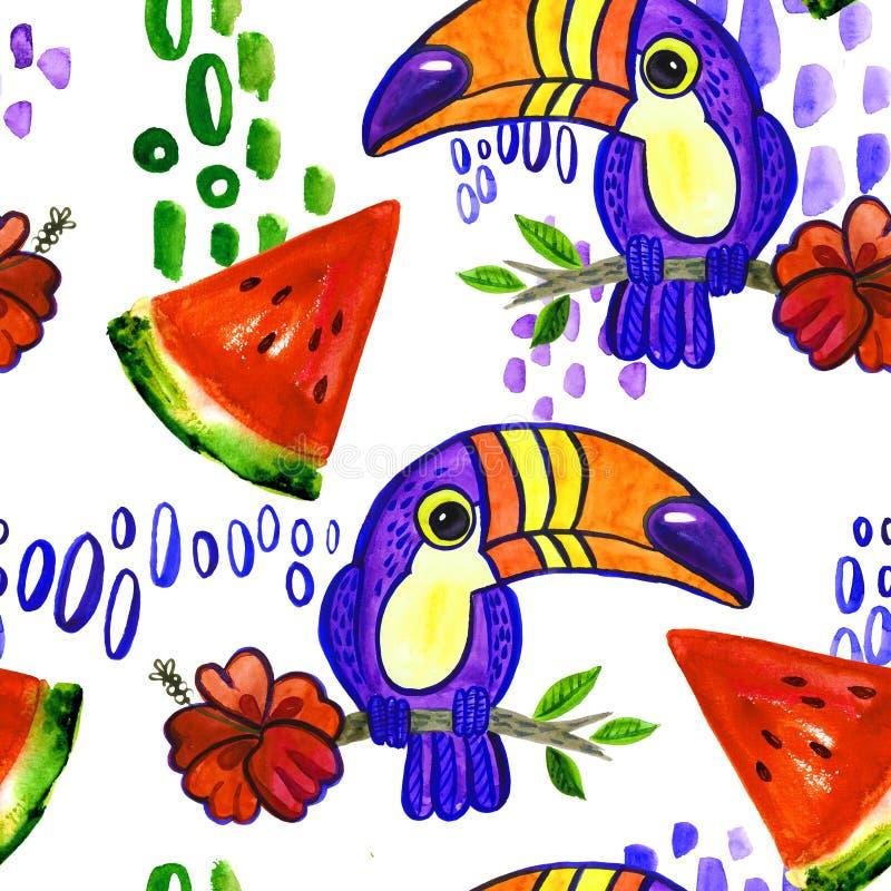 Toucan西瓜无缝的样式 向量例证