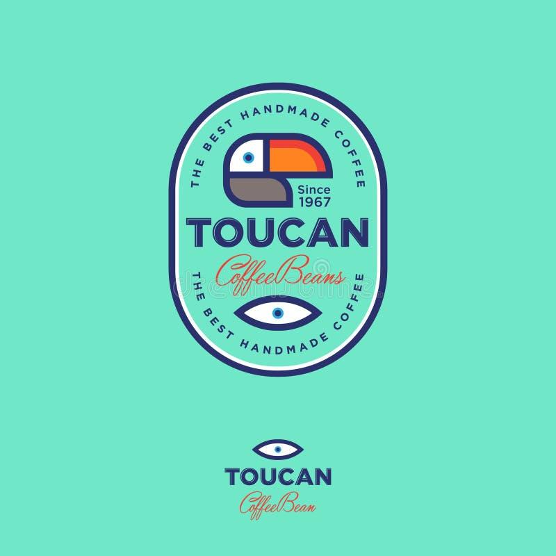 Toucan象 咖啡豆象征 咖啡包装的商标 库存例证