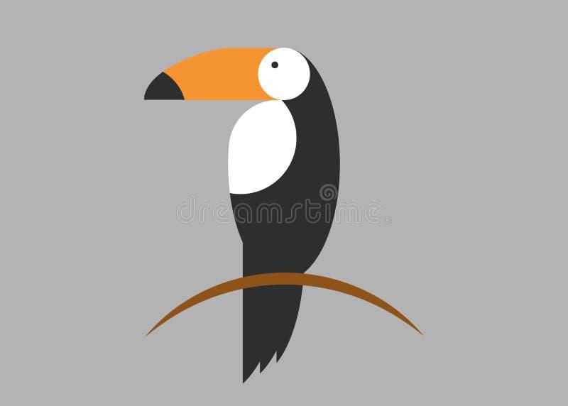 Toucan象 toucan传染媒介象的动画片例证网的 被隔绝的Toucan平的样式传染媒介商标模板,灰色背景 向量例证