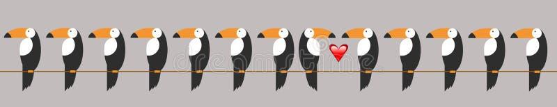 Toucan象 toucan传染媒介象的动画片例证网的 被隔绝的Toucan平的样式传染媒介商标模板,爱鸟concep 皇族释放例证
