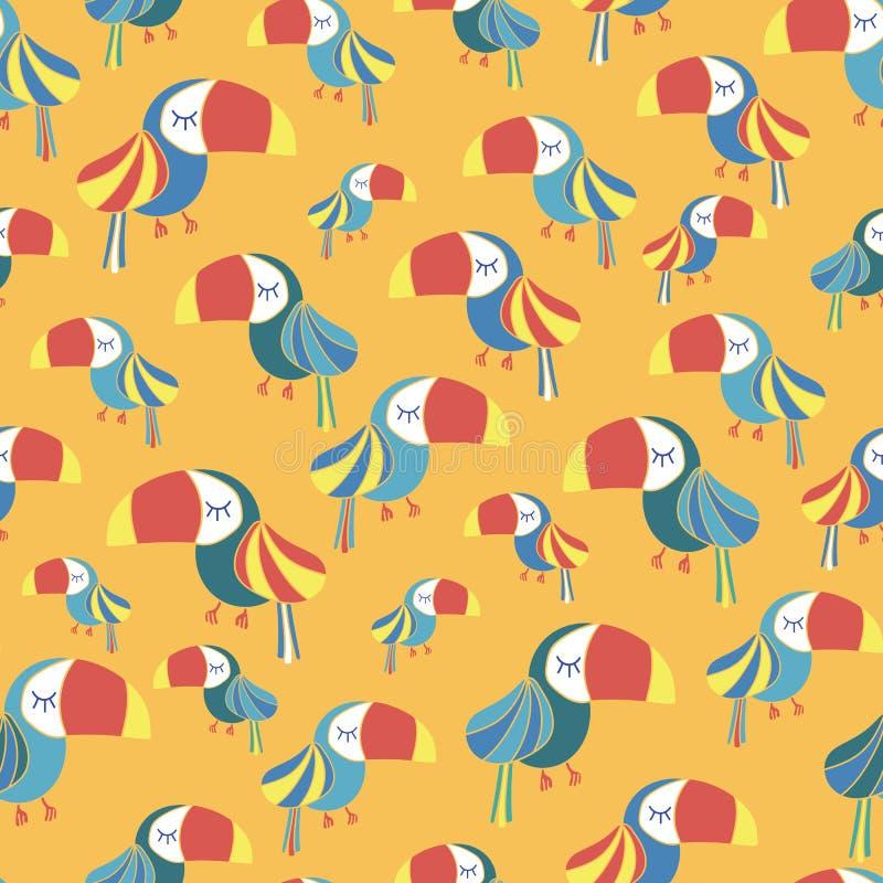 Toucan鸟蓝色红色白色黄色无缝的样式 皇族释放例证
