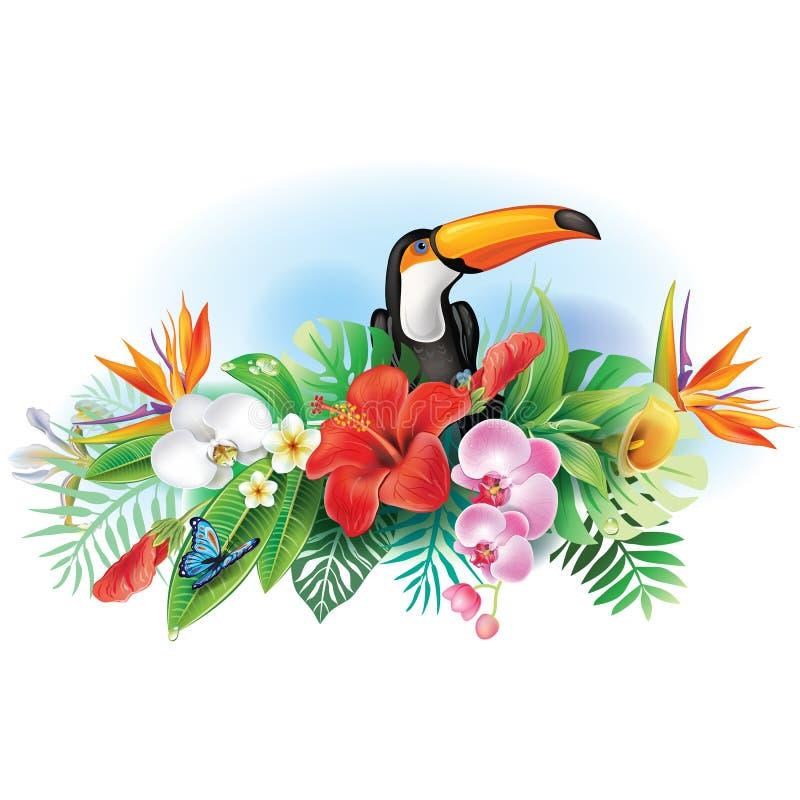 Toucan και τροπικά λουλούδια απεικόνιση αποθεμάτων