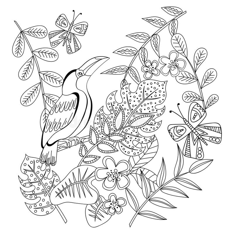 Toucan. Adult antistress coloring page. Black and white hand drawn doodle for coloring book royalty free illustration