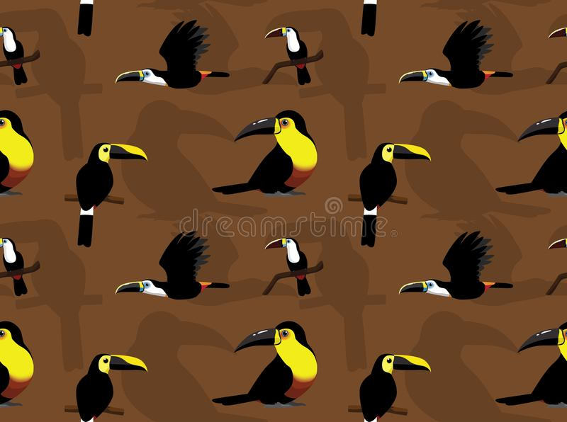 Toucan Ariel Cartoon Seamless Wallpaper. Animal Wallpaper EPS10 File Format royalty free illustration