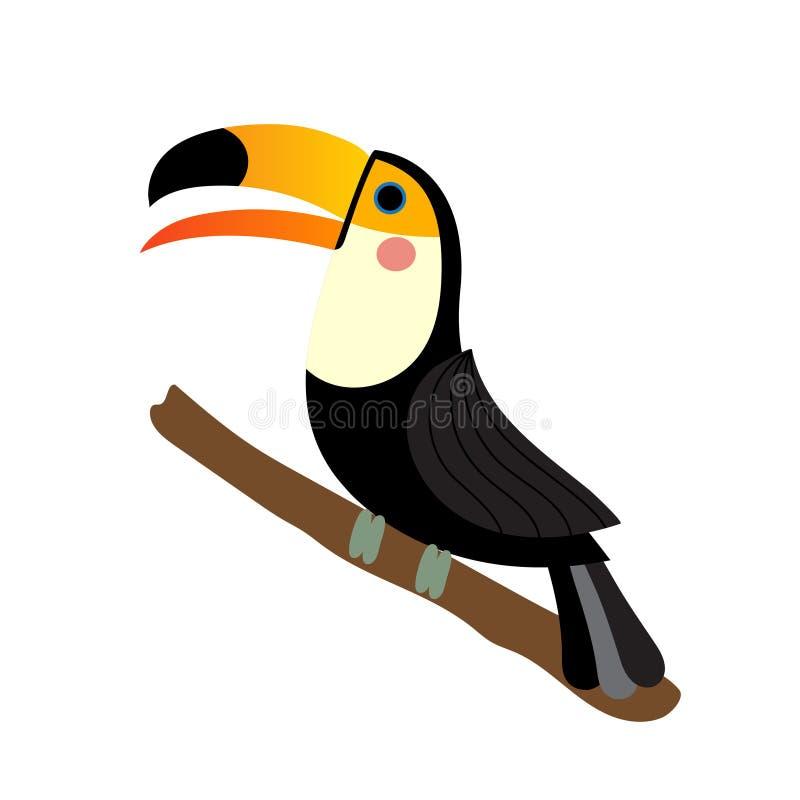 Toucan bird animal cartoon character vector illustration. Toucan bird perched on the branch animal cartoon character. Isolated on white background. Vector vector illustration