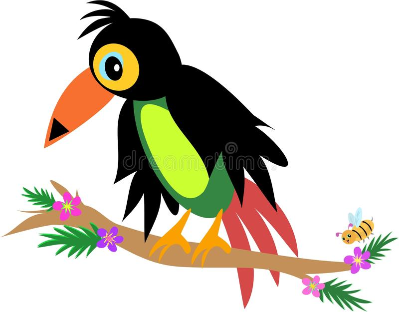 Download Toucan Bird with Bee stock vector. Illustration of branch - 14177494