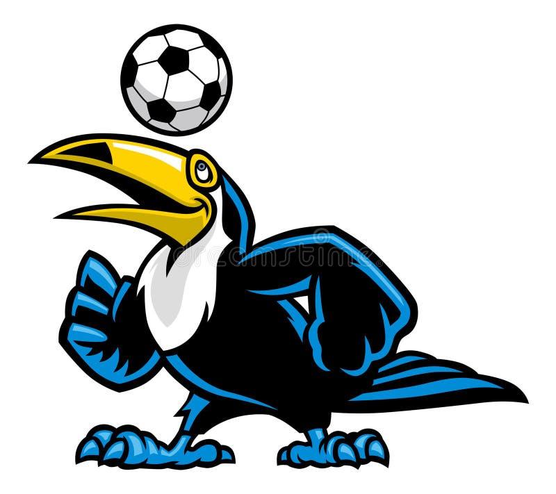 Toucan bird play soccer royalty free illustration