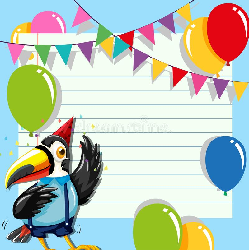 Toucan on birthday template stock illustration