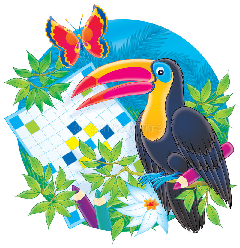 Toucan and crossword royalty free illustration