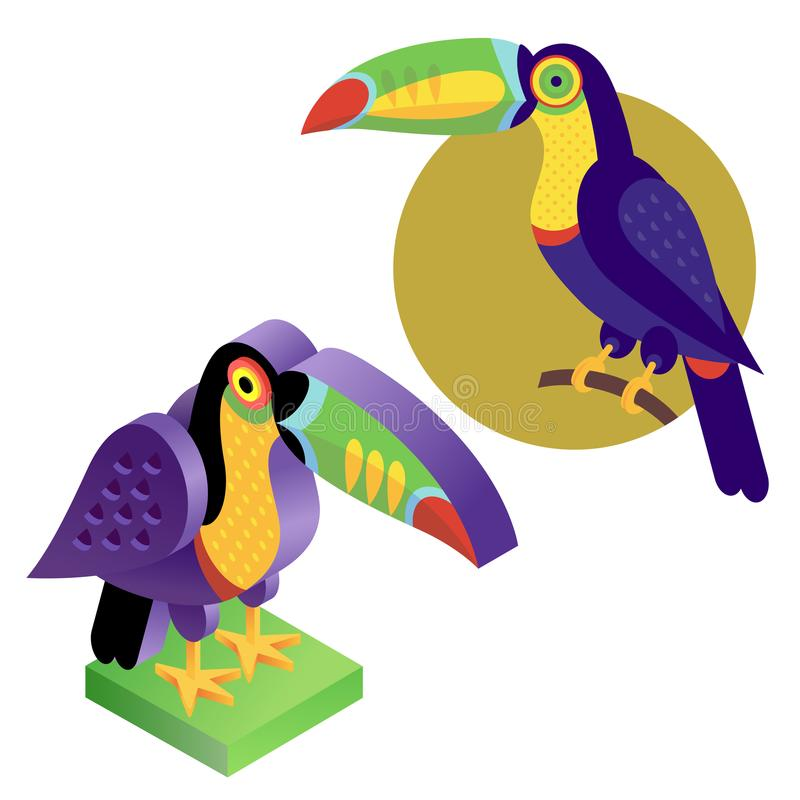 Toucan d'oiseau dans un style plat et une vue isométrique illustration de vecteur