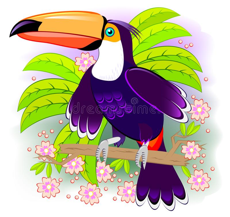 Toucan, exotic bird living the tropical rain-forest. Fantasy illustration kids. Cover for children fairy tale baby book. stock illustration