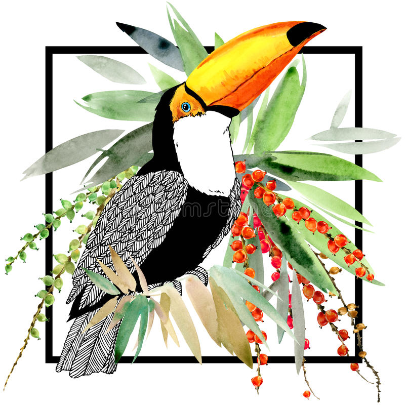 Toucan. Exotic nature background. tropical plant. royalty free illustration