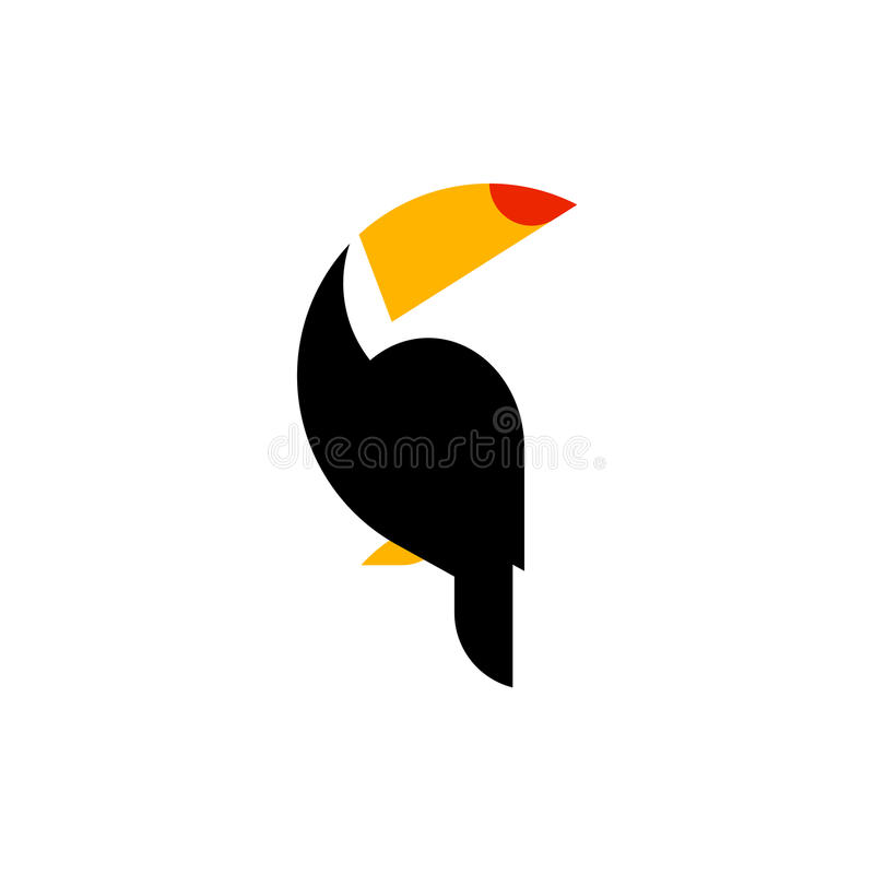 Toucan flat style vector logo template isolated on a white vector illustration