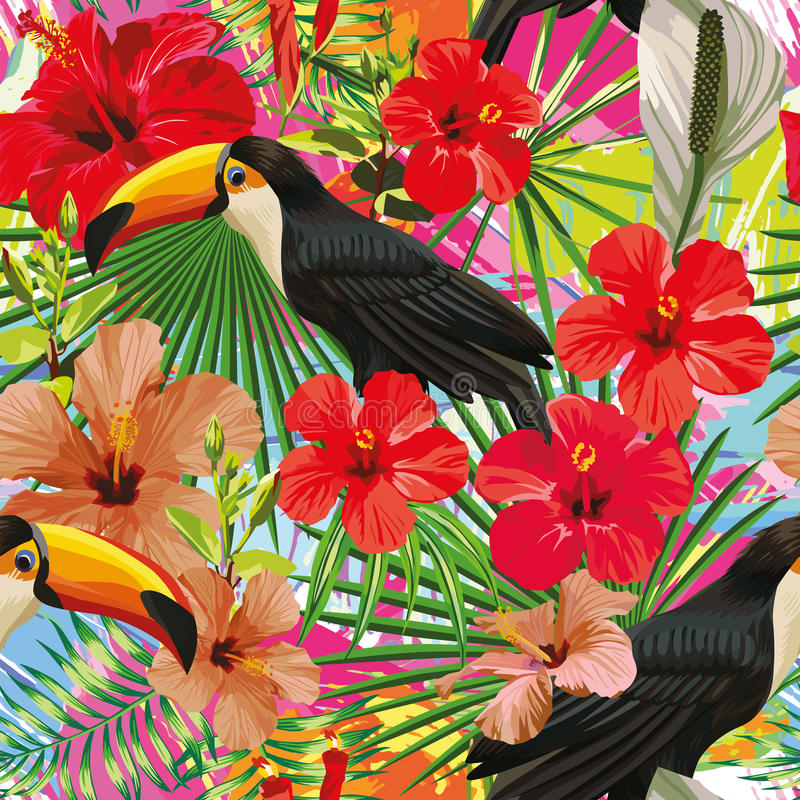 Toucan leaves and flowers seamless pattern colorful motley backg royalty free illustration