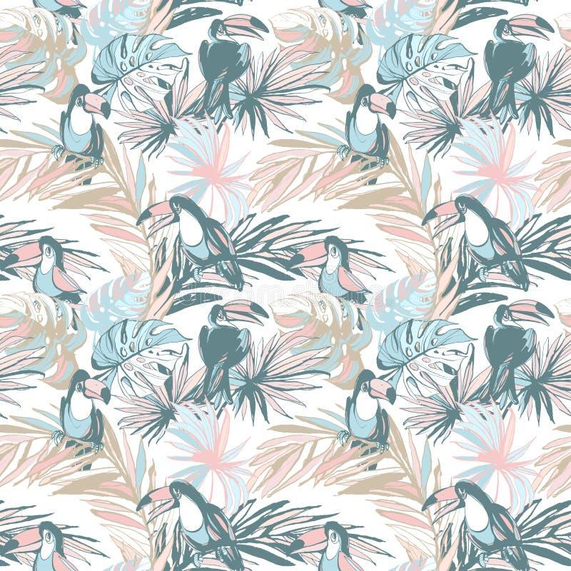 Toucan tropical de palmettes de modèle de croquis tiré par la main sans couture d'encre illustration stock