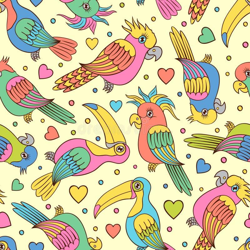 Toucans και παπαγάλοι ελεύθερη απεικόνιση δικαιώματος
