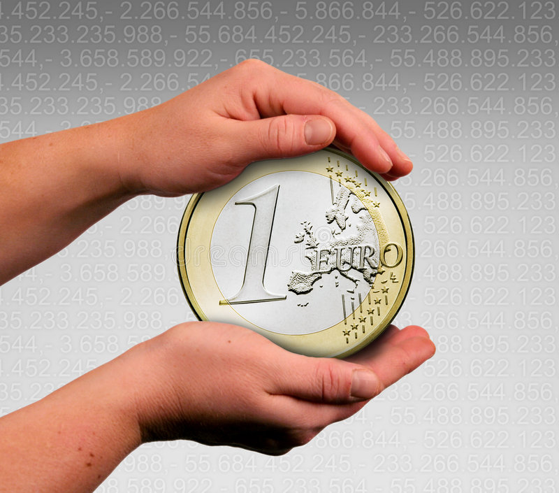 Touch the coin. The hands are touching the one euro coin royalty free stock photography