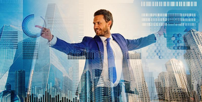 Touch digital surface. Businessman financial manager interact digital surface. Businessman with briefcase business royalty free stock photos