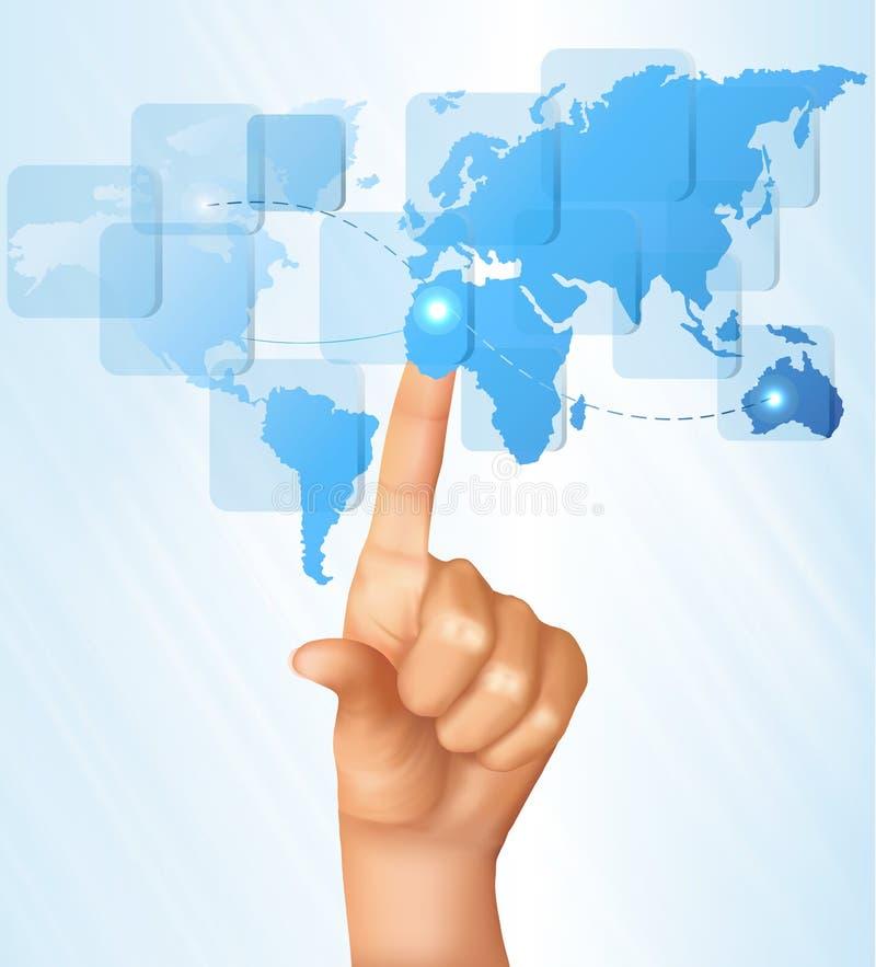 touch för fingeröversiktsskärm som trycker på världen stock illustrationer
