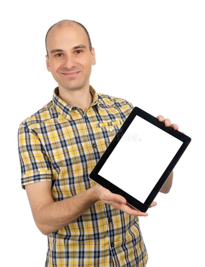 touch för tablet för PC för holdingmanblock fotografering för bildbyråer