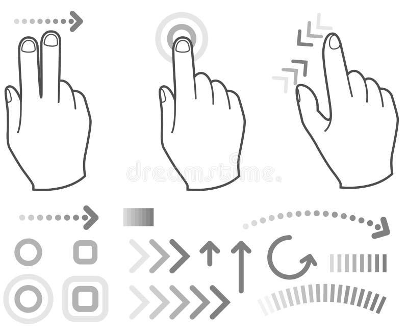 touch för tecken för gesthandskärm stock illustrationer